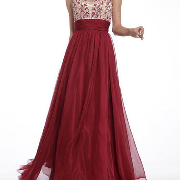 Red Sleeveless Backless Mesh A-Line Pleated Maxi Dress
