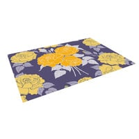"Anneline Sophia ""Summer Rose Yellow"" Purple Lavender Indoor / Outdoor Floor Mat"