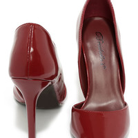 Arrive on the Scene Red Patent D'Orsay Pumps