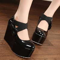 Sweet Lovely Womens High Heels Platforms Wedges Round Toe Bowknot X-strap 1m8
