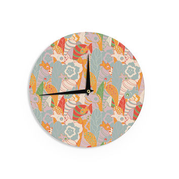 "Akwaflorell ""Fishes Here, Fishes There 2"" Multicolor Wall Clock"