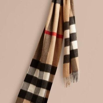 Authentic Burberry Exploded Large Check Cashmere Scarf