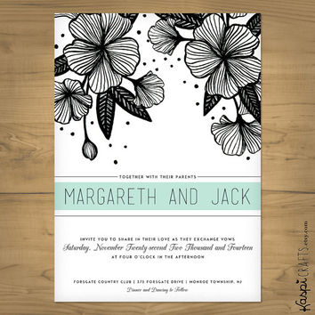 Modern floral wedding invitation - printed invitation - printable invitation - Customize with your wedding colors