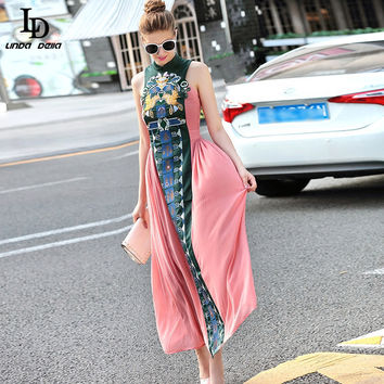 Vintage Chinese Style Slim Long Dress 2017 Summer New Fashion Embroidery Ankle-Length Dress For Women