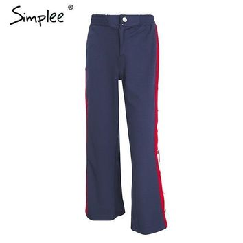 simplee split button casual pants Women bottom red stripe loose trousers female pants streetwear elastic capri