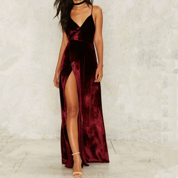 Sexy Backless V neck Sleeveless Velvet Dress Autumn Winter Women Vintage Sexy High Split Long Maxi Dresses Vestido wine red