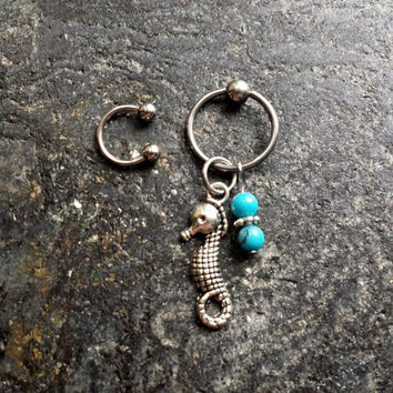 Seahorse - Turquoise Stones - 20g 18g 16g 14g CBR / BCR Bead Captive Ring Piercing Jewelry Hoop ( Helix Tragus Orbital )
