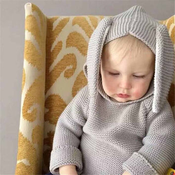 New European children sweater rabbit ears Hooded Sweater boy girl Wool Cotton Baby Sweater knitwear winter clothing for children