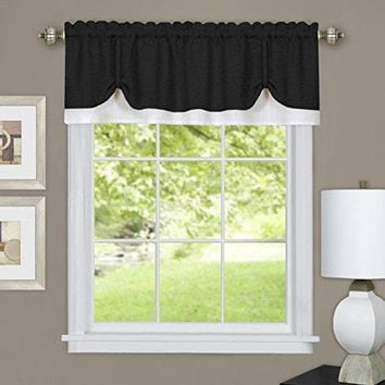 Ben&Jonah Collection Darcy Window Curtain Valance 58x14- Black/White