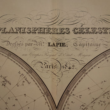 1842 LARGE Astronomy print - original antique celestial map of north south sky double hemispheres chart star constellation vintage poster