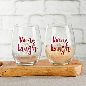 Wine A Little Laugh A Lot 15 oz. Stemless Wine Glass (Set of 4)