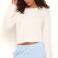 Long Sleeve Fuzzy Cropped Pullover Sweater with Boat Neck