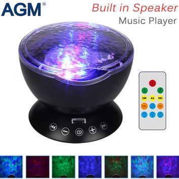 AGM LED Night Light Ocean Wave Projector Starry Sky Cosmos Star Lamp Luminaria Aurora Novelty Baby Nightlight Gift For Home Kids