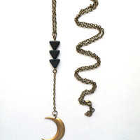 Crescent Moon Necklace with Black Triangles // Minimal Necklace // Half Moon Necklace // Drop Style Necklace
