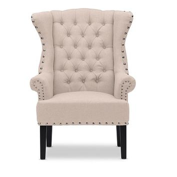 Baxton Studio Knuckey French Country Beige Linen Nail Head Wing Back Armchair Set of 1