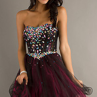 Short Strapless Corset Top Party Dress by Blush