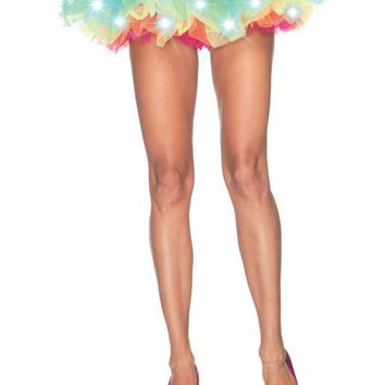 LED Light Up Neon Rainbow Tutu (One Size,Multicolor)