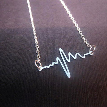 Heartbeat Necklace EKG Heart Line Heart Rhythm Love Necklace Nurse