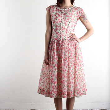 1950s Floral Print Dress . Sheer Crepe Organza . Mid Century