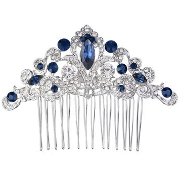 Bella Fashion Oval Droplet Wedding Hair Comb Austrian Crystal Flower Bridal Head Piece For Bride Accessories Party Jewelry