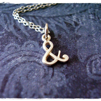 Tiny Silver Ampersand Necklace - Sterling Silver Ampersand Charm on a Delicate 18 Inch Sterling Silver Cable Chain