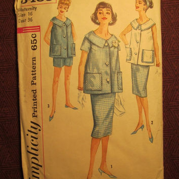 SALE Complete 1960's Simplicity Sewing Pattern, 3485! Size 16 Bust 36 Large/Med/Women's/Misses/Maternity Pullover Blouse/Collared/Pants/Skir