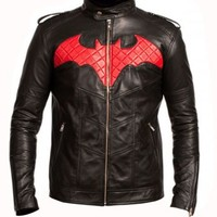Batman Red & Black Racing Motorbike Genuine Real Leather Jacket Shoulder Straps