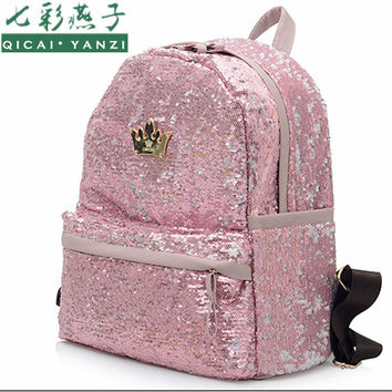 QICAI.YANZI 2017 Fashion Cute Girls Sequins Backpack Womens Paillette Leisure School BookBagsTop Quality Mochila P110