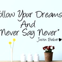 JUSTIN BIEBER Never say Never - Wall quote art sticker