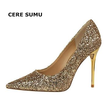 Hot 2018 Spring Autumn Women Pumps Sexy Thin High Heels Bling Sequined Fashion Pointed Toe Wedding Shoes Party Gold Women Shoes