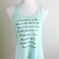 Newly Redesigned Mr. Darcy Quote Tank Top in Mint Green - Pride and Prejudice by Jane Austen Women's Flowy Racerback Tank