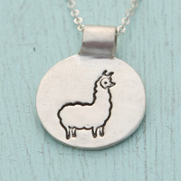 medium LLAMA necklace, illustration by BOYGIRLPARTY, eco-friendly reclaimed silver.  Handcrafted by Chocolate and Steel.