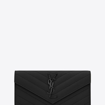 SAINT LAURENT LARGE MONOGRAM SAINT LAURENT FLAP WALLET IN BLACK GRAIN DE  POUDRE TEXTUR f355d8159cabb