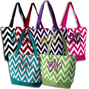 Monogram Tote Bag - Personalized Tote Bag - Monogrammed Tote Bags - Personalized Chevron Canvas Tote Bag - Available in 6 Gorgeous Colors!