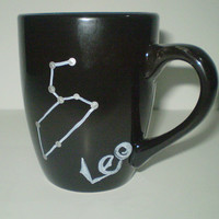 Leo Zodiac Constellation Black Mug Horoscope Sign