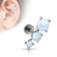 Triple Opal Ball Tragus Barbell 316L Surgical Steel Cartilage Bar Helix Piercing 16g