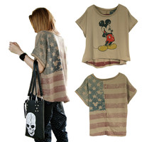 Vintage Mickey Mouse & USA Flag Batwing Short T-shirt