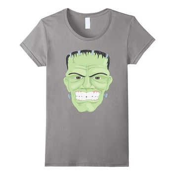 Green Frankenstein Like Monster Brain Funny Costume T Shirt