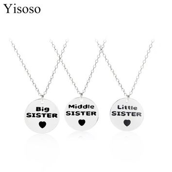 Yisoso Round shape sweet Love Family Little Middle Big Sister & Best friend necklaces & pendants maxi necklace as lady gift