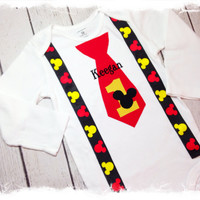 MOUSE Tie with Suspenders BIRTHDAY Set-1st Birthday Set With Name- Cake Smash-Baby Boy Birthday One Piece