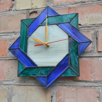 Wall Clock Stained Glass Celtic in teal, blue and ivery colors - Unique Modern Art Glass with Celtic Geometric Design - Ocean Beach Clock