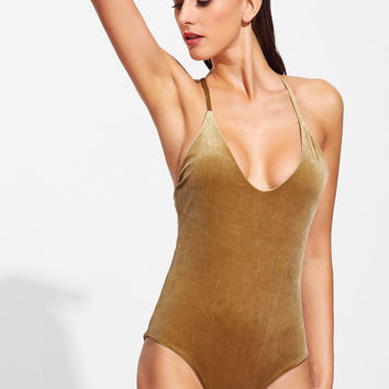 Gold Cross Back Velvet One-Piece Swimwear