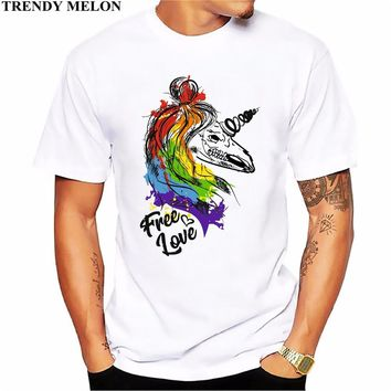 Trendy Melon Printed Men's T-shirt Lgbt Rainbow Novelty Funny White Short Sleeve O-Neck Tops Cotton Tees Hipster Clothing ML01