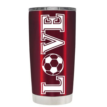 TREK Love Soccer on Translucent Red 20 oz Tumbler Cup