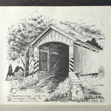 Covered Bridge Pen and Ink Print, Lancaster County Pa Ink Drawing, Vintage Landscape Illustration, Country Landscape Wall Art
