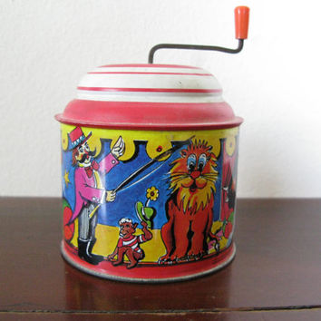 Vintage Noisemaker, West German Tin Toy, Circus Toy