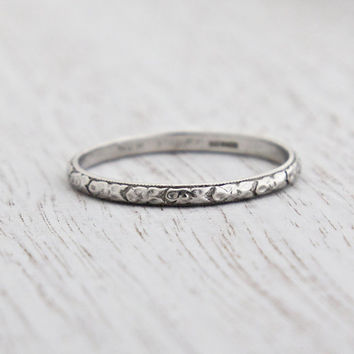 Antique Platinum Wedding Band Ring - Art Deco 1920s Wedding Engagement Stacking Orange Blossom Signed Werner Fine Jewelry / Eternity Flowers