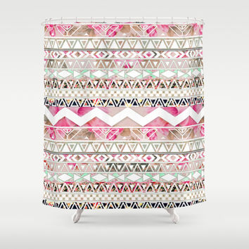 Aztec Spring Time! | Girly Pink White Floral Abstract Aztec Pattern Shower Curtain by Girly Trend | Society6