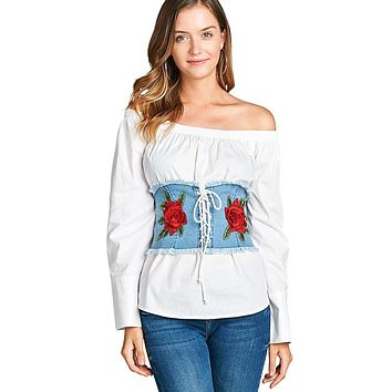 Rose applique denim corset