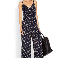 FOREVER 21 Dainty Floral Jumpsuit Midnight/Pink Large